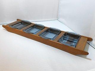 北欧ビンテージ Scandinavian vintage ガラスディッシュ 5P × チークトレイ デンマーク ■