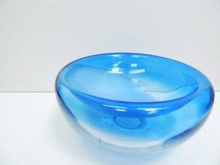 デンマーク ビンテージ Danish vintage ガラス ボウル Glass bowl 大型 ブルー ●