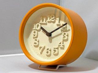 レムノス LEMNOS 小さな時計 Riki clock 渡辺力 壁掛け オレンジ ■
