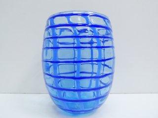 北欧ビンテージ danish vintage ガラスベース フラワーベース ブルー H19cm ●