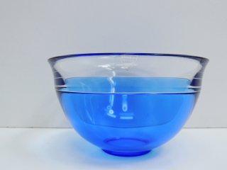 オレフォス ORREFORS 2トーン ガラスボウル glass bowl ブルー ビンテージ スウェーデン ●