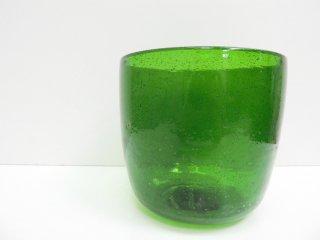 Jon Eliasson 気泡ガラス フラワーベース Bubbles glass flower vase グリーン ハンドブロウ スウェーデン ●