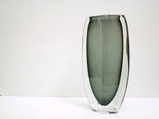 オレフォス Orrefors フラワーベース Sommerso グレー 3538/738 ガラス 花瓶 ニルス・ランドバーグ Nils Landberg スウェーデン ●