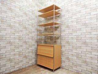 無印良品 MUJI ステンレスユニットシェルフ タモ材 棚板×4 フラップ扉収納×2 廃番品 ●