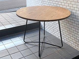 ダルトン DULTON スミス SMITH ラウンドテーブル カフェテーブル アイアンフレーム アッシュ材 ■