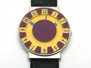 セイコー SEIKO ソットサス コレクション 7N01-6H30 イエロー 1994年発売 オリジナルモデル 箱付 Sottsass 腕時計 2層ガラス 3針モデル ポストモダン メンフィス ●