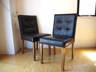 ダルトン DULTON マスターチェア MASTER Chair ブラック 2脚セット フェイクレザー×アッシュ材 カフェチェア ★