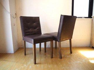 ダルトン DULTON マスターチェア MASTER Chair ブラウン 2脚セット フェイクレザー×アッシュ材 カフェチェア ★