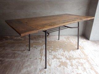 古材無垢材天板×アイアンレッグ リメイク ダイニングテーブル ワーキングテーブル ビンテージ インダストリアル♪