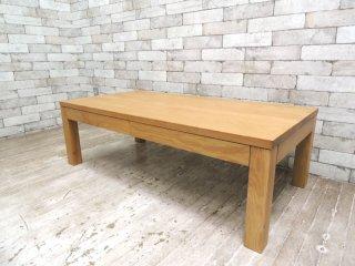 無印良品 MUJI オーク無垢材 引出し付 センターテーブル ローテーブル W110 ナチュラルデザイン ●