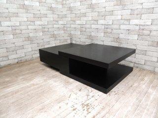 モダンデザイン 引出し付 コーヒーテーブル センターテーブル アッシュ材 ブラック ●