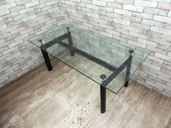 ル・コルビジェ Le Corbusier LC6 ダイニングテーブル クリアガラス モダン リプロダクト品 ●