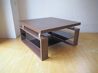 ロウヤ LOWYA アズウー AZWO センターテーブル 木製 ローテーブル 7575 ウォールナットカラー ガラス棚付 ★