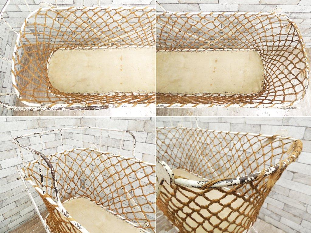 フランスビンテージ シャビーシック フォールディング ベビーベッド アイアン ホワイトペイント 折り畳み ●