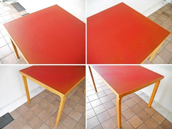 アルテック Artek ビンテージ テーブル81B リノリウム天板 レッド バーチ材 アルヴァ・アアルト 70's~80's 北欧家具 フィンランド ダイニングテーブル 希少 ◇