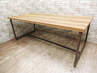 インダストリアルデザイン ダイニングテーブル ワーキングテーブル パイプレッグ × 無垢材天板  ●