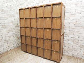 ジャパンビンテージ Japan vintage 古い木味の下駄箱 シューズラック 店舗什器 ●