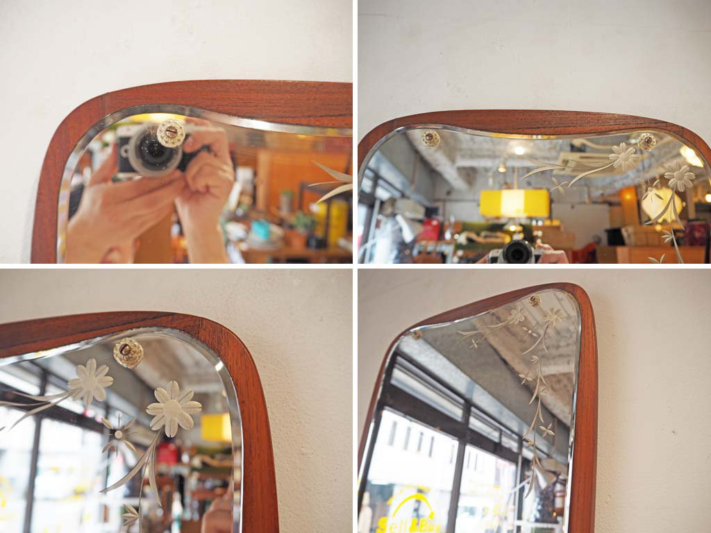 ヨハンセン ミラー johansen spejle ウォールミラー チークフレーム デンマーク 60's ビンテージ 壁掛鏡 ロイズアンティークス取扱 ★