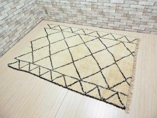 モロッコ ベニワレン Beni Ouarain 大判ラグ ホワイト W255cm 手織り ハンドメイド ●