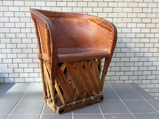エキパレスチェア Equipales Chair エキパルチェア 本革 アームチェア アンティーク 民藝 ハンドクラフト メキシコ B ■