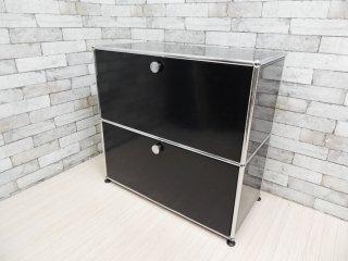 ユーエスエム モジュラーファニチャー USM Modular Furniture USMハラーシステム サイドボード 1x2 キャビネット ドロップダウンドア ドロワー ブラック ●