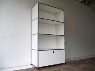 ユーエスエムハラーシステム USM Haller 1×4 シェルフ W786 ピュアホワイト 定価¥190,095〜 本棚 オフィス家具 MoMA スイス製 A ◇