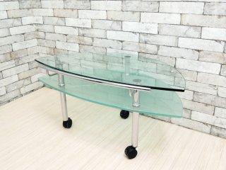 モダンデザイン Modern design ガラス AVボード コーナータイプ センターテーブル 2段 キャスター付き ●