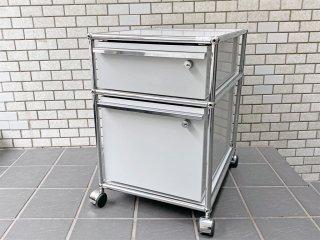 ユーエスエムハラー USM Haller モジュラーファニチャー Modular Furniture ハラーシステム ロールボーイ デスクワゴン ライトグレー A ■