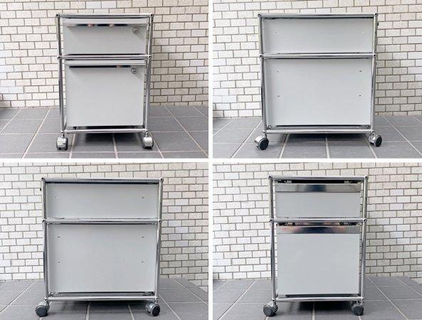 ユーエスエムハラー USM Haller モジュラーファニチャー Modular Furniture ハラーシステム ロールボーイ デスクワゴン ライトグレー B ■