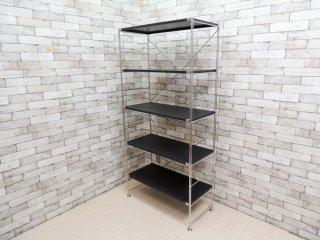 無印良品 MUJI ステンレスユニットシェルフ ワイド 大 サイズ スチールブラック 棚板 5段 W86cm ●