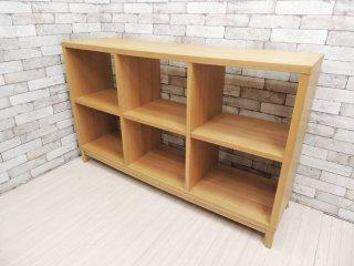 無印良品 MUJI タモ材 2段3列 オープンシェルフ 木製ラック 飾り棚 ナチュラル シンプルデザイン  廃番品 ●