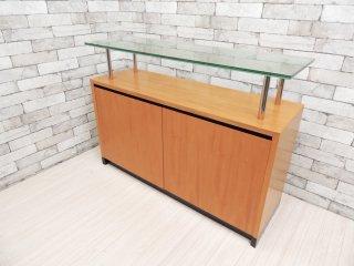 モダンデザイン modern design ガラス天板 サイドボード キャビネット コンソール ディスプレイ ●