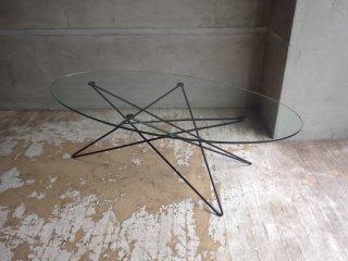 イデー IDEE O.R.T.F ローテーブル コーヒーテーブル アイアンレッグ オーバル型 ガラス天板 廃盤 参考定価:¥113,400-♪