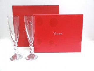 バカラ Baccarat ベガ Vega シャンパンフルート 2客セット クリスタルガラス 元箱 純正紙袋付き ●