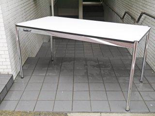 ユーエスエムハラー USM Haller モジュラーファニチャー ハラーシステム ワーキングテーブル カンファレンステーブル ダイニングテーブル W150cm ホワイトラミネート天板 A ■