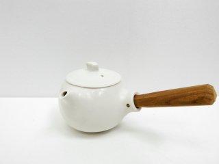 馬場勝文 白磁マット 急須 白 丸型 取手付 チーク材 陶器 現代作家 ●
