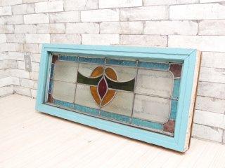 リメイク ステンドグラス パネル ペインテッド フレーム 窓枠 クラフト 店舗什器 A ●