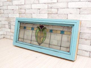リメイク ステンドグラス パネル ペインテッド フレーム 窓枠 クラフト 店舗什器 B ●
