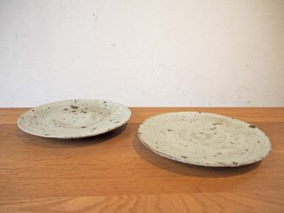 中西申幸 刷毛目 7寸皿 径21cm 皿 プレート 2枚セット 陶器 現代作家 ★