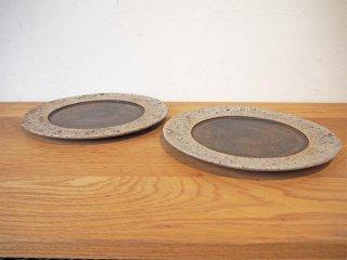 若狭 祐介 白砂×枯金釉 径26cm リム皿 プレート 2枚セット 陶器 現代作家 ★