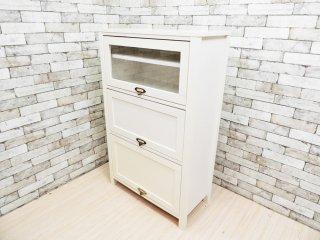 モモナチュラル Momo Natural シエル CIELE フラップ扉 3段 キャビネット 食器棚 ホワイト ●