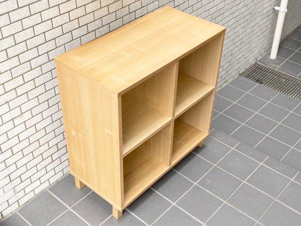 無印良品 MUJI オープンシェルフ 2段2列 タモ材 ナチュラル 木製ラック 飾り棚 シンプルデザイン ■