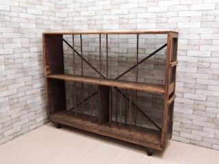 ビンテージ Vintage 木製 トローリー シェルフ ディスプレイラック キャスター付き 店舗什器 インダストリアル ●