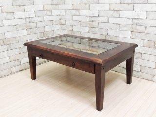 アジアン家具 無垢材 x バンブー × ガラス ローテーブル センターテーブル リゾートスタイル ●