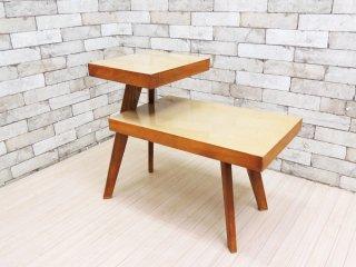 USビンテージ US Vintage デコラトップ サイドテーブル ステップエンドテーブル 2段 ミッドセンチュリー ●