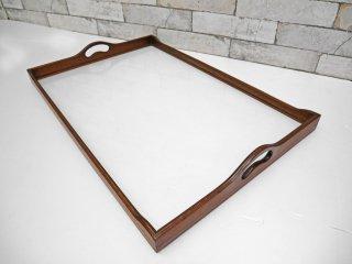 USビンテージ ガラス×木材 トレイ 取っ手付き 象嵌 ●