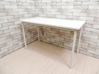 無印良品 MUJI スチールフレーム デスク ワークテーブル ホワイト 天板  w120 ●