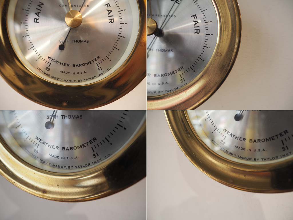 セス トーマス SETH THOMAS compensated 船舶 気圧計 真鍮フレーム 米海軍採用 US ビンテージ ★