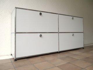 ユーエスエムハラーシステム USM Haller 2×2 サイドボード キャビネット W1536 ライトグレー 定価¥293,521- 本棚 オフィス家具 AVボード シェルフ MoMA スイス製 ◇