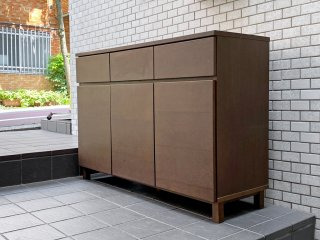 無印良品 MUJI 木製キャビネット タモ材 ブラウン 木製ラック サイドボード シンプルデザイン ■